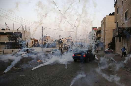 Le check-point de Qalandiya, entre Ramallah et Jérusalem, lors de heurts entre Tsahal et des manifestants palestiniens, le 23 juillet.