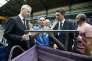 Le ministre de l'économie, Bruno Le Maire (à gauche), et le secrétaire d'Etat auprès du ministre de l'économie, Benjamin Griveaux (deuxième en partant de la droite) écoutent des salariés de GM & S sur le site de La Souterraine (Creuse), le 19 juillet.
