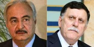 Le maréchal Haftar, maître de la Cyrénaïque, et Faïez Sarraj, le chef du gouvernement.