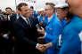 Le président Emmanuel Macron, lors de la cérémonie de livraison du paquebot« Meraviglia», contruit par STX France, le 31 mars, à Saint-Nazaire.