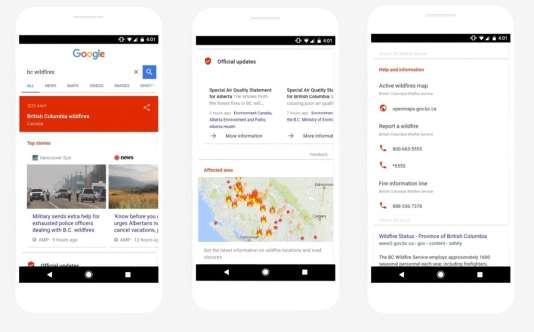 Des informations sur une crise s'afficheront dans le moteur de recherche de Google.