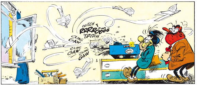 Vignette tirée de l'album de Franquin « Gaffes, bévues et boulettes » (Dupuis, 1973).