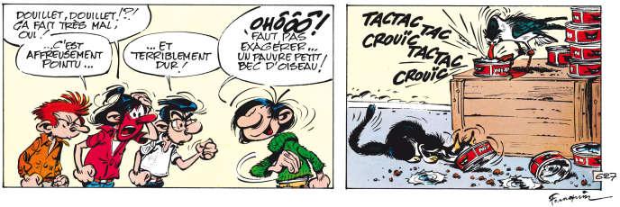 Vignettes tirées de l'album de Franquin« Le Cas Lagaffe» (Dupuis, 1971).