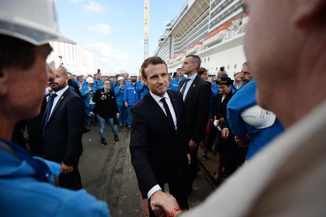 Le président Emmanuel Macron lors la cérémonie de livraison du paquebot «MSC Meraviglia», le 31 mai, à Saint-Nazaire, en Loire-Atlantique.