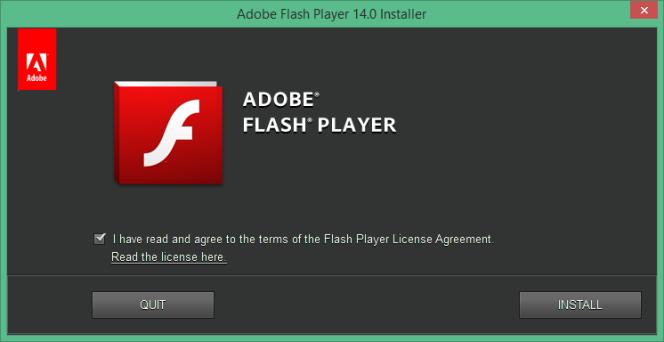 L'outil d'installation de Flash Player.