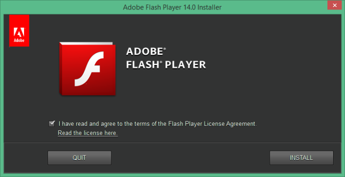 L'outil d'installation de Flash Player.