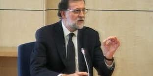 Capture d'une vidéo de l'audition du premier ministre espagnol, Mariano Rajoy, à l'Audience nationale, àSan Fernando de Henares, le 28 juillet.