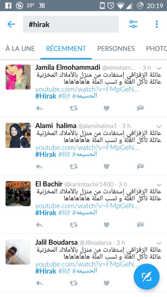 Exemple de trolling sur Twitter : «La famille de Zefzafi a bénéficié d'une maison des propriétés du Makhzen [le palais royal]. Une famille qui mange sur la récolte et insulte les agriculteurs. »