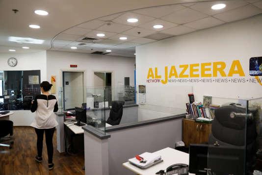 L'intérieur des bureaux de la chaîne d'information qatarie Al-Jazira, à Jérusalem (Israël), le 13 juin.