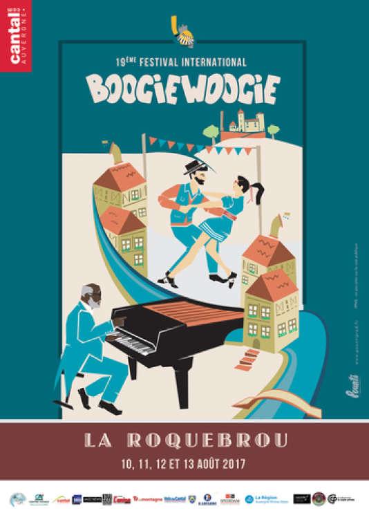 Affiche du Festival international de boogie woogie de La Roquebrou.