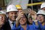 Le président Emmanuel Macron en visite au chantier naval STX à Saint-Nazaire (Loire-Atlantique), le 31 mai.