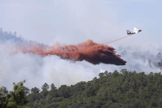 Un Canadair est envoyé pour contrôler l'incendie près de La Londe-les-Maures (Var), le 26 juillet.