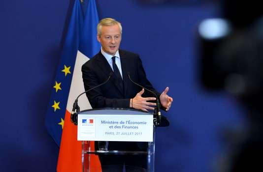 Le ministre de l'économie, Bruno Le Maire, lors d'une conférence de presse au ministère à Paris, le 27 juillet.