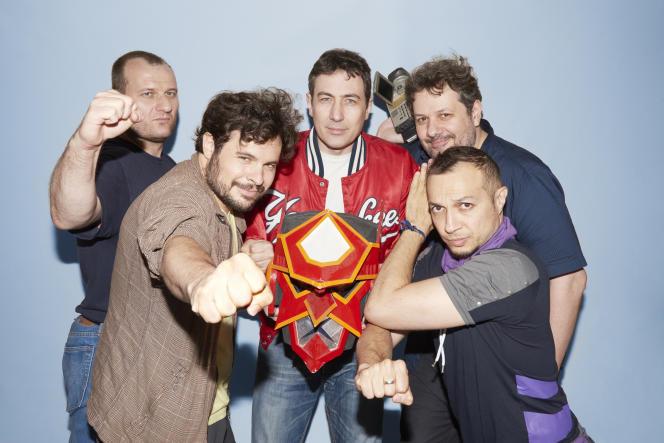Une partie des acteurs de France Five, le 12 juillet. De gauche à droite : Grégory Goldberg, Daniel Andreyev, Sébastien Ruchet, Alexandre Pilot, Grégoire Hellot.