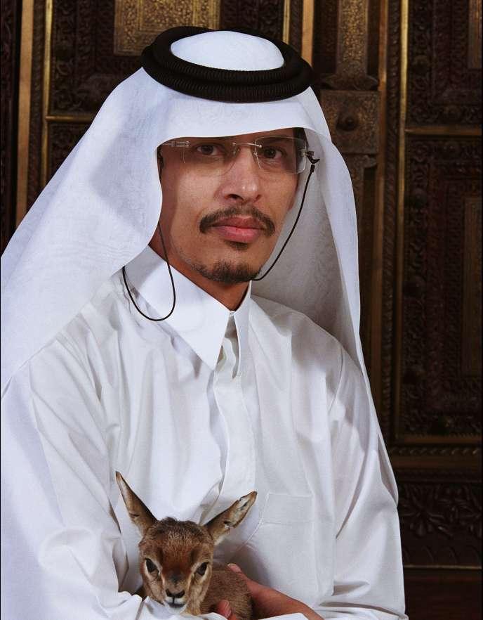 Cheikh Saoud en janvier 2003, dans la réserve naturelle d'Al-Wabra, qu'il a créée.