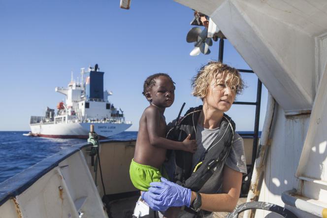 Sur un navire de l'ONG Proactiva Open Arms, au large de la Libye, le 1er août.