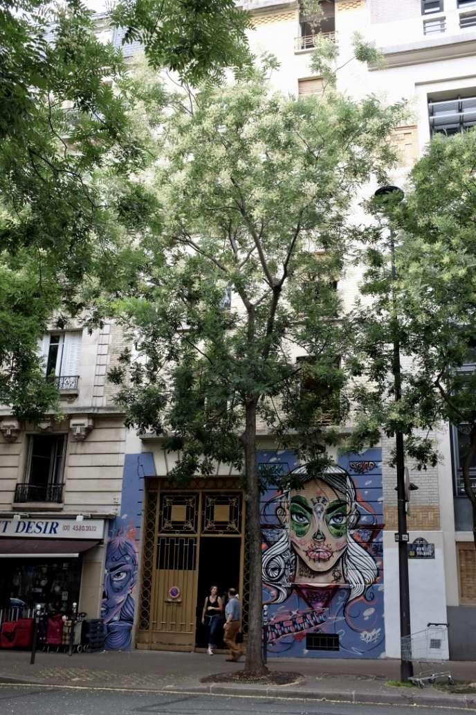 Au numéro 148 de la rue de Tolbiac (13e arrondissement de Paris), la façade de l'immeuble est intacte, seul le porche est décoré d'une «Santa Muerte» revisitée par le graffeur Jallal.