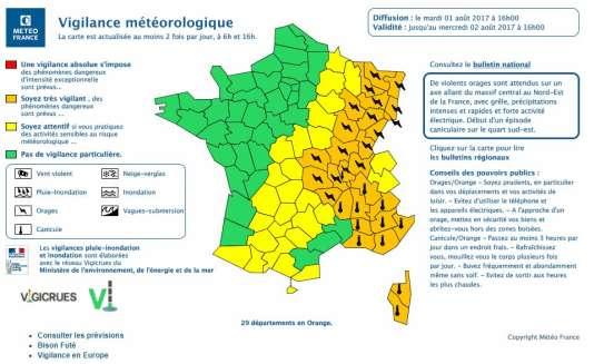 Météo France a publié mardi 1er août sa carte de vigilance météorologique.
