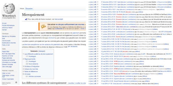 La page Wikipédia consacrée au micropaiement (à gauche). A droite, l'historique des modifications de l'article.