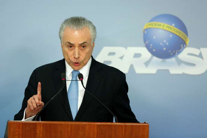 Michel Temer, le président brésilien, lors d'une conférence de presse à Brasilia (Brésil), le 2 août.