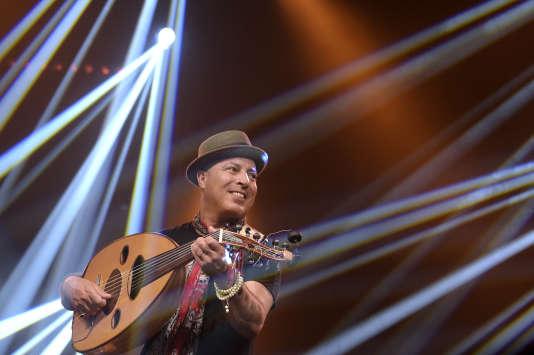 Dhafer Youssef en concert au festival Jazz in Marciac, le 2 août 2017.
