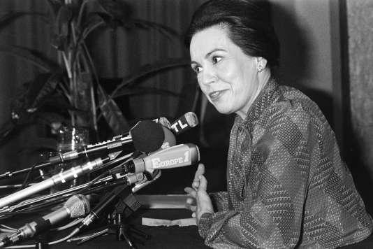 Marie-France Garaud à Paris en avril 1981.