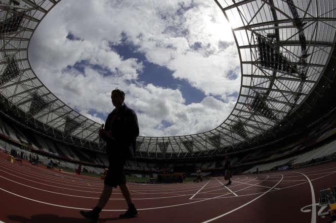 Dans le stade de Londres avant le championnat du monde d'athlétisme en août 2017.