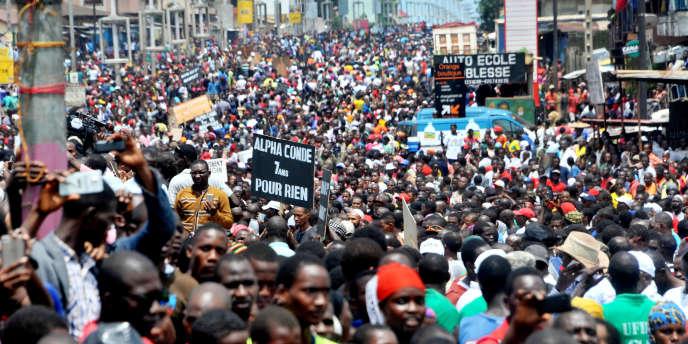 Manifestation de l'opposition à Conakry, en Guinée, le 2août 2017.