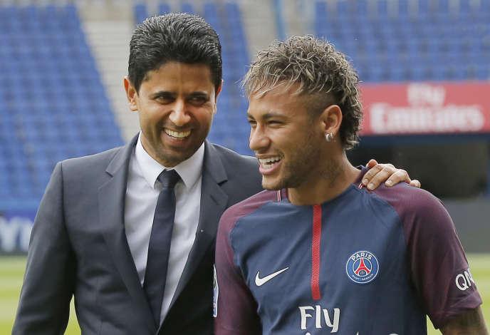 Nasser Al Khelaïfi, président du PSG, et Neymar, nouvelle vedette du club parisien.