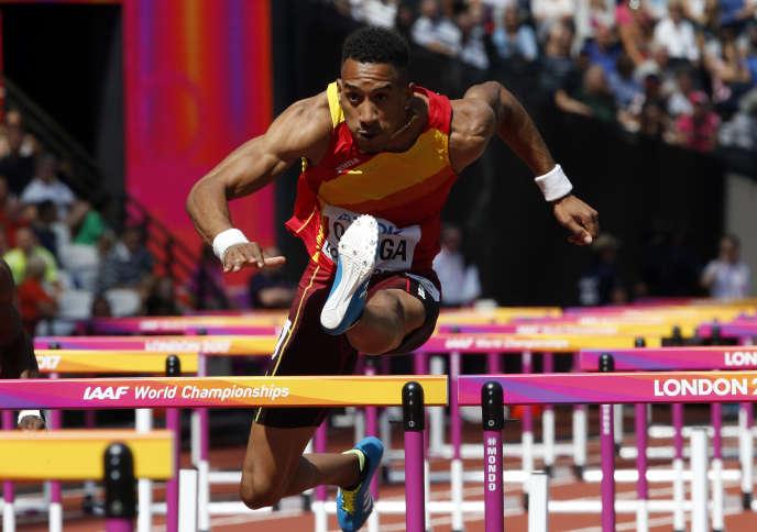 Orlando Ortega, dimanche 6 août, lors des demi-finales du 110 m haies.