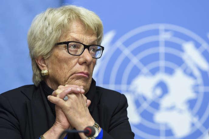 Carla Del Ponte, le 1ermars, lors d'une conférence de presse de la Commission d'enquête de l'ONU sur la Syrie.