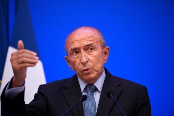 Le ministre de l'intérieur Gérard Collomb lors d'une conférence de presse à son ministère, à Paris le 31 juillet.