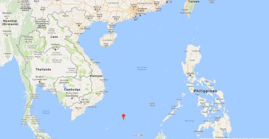Les îles Spratleys (point rouge) situées à l'est du Vietnam,en mer de Chine du Sud, une zone disputée entre plusieurs pays de la région.