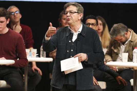 Jean-Luc Mélenchon, en meeting à Strasbourg (Bas-Rhin), le 15 février.