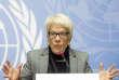 Carla Del Ponte, lors d'une conférence de presse sur la situation des prisonniers en Syrie, à Genève, le 8 février 2016.