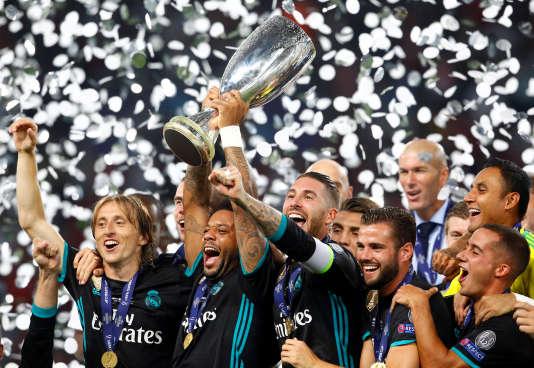 La joie des Madrilènes après leur victoire face à Manchester United en Supercoupe d'Europe, le 8août.