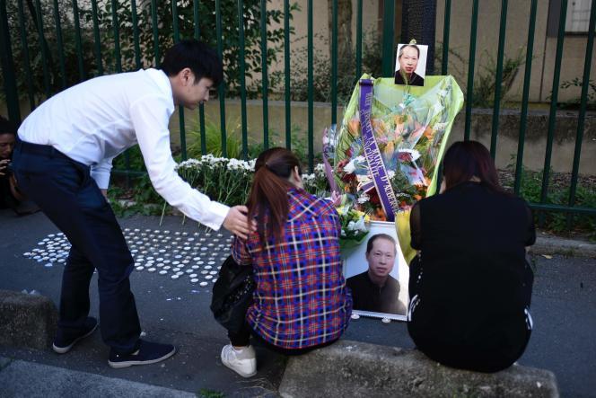 Hommage à Chaolin Zhang un an après sa mort, à Aubervilliers (Seine-Saint-Denis), le 7 août.
