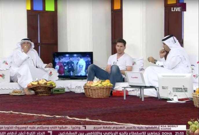 Capture d'écran de l'émission «Al-Majlis», le 20 mai 2013, lors de l'intervention de Lionel Messi.