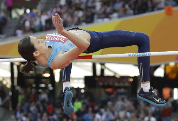 Mariya Lasitskene, le 10 août, lors des qualifications du saut en hauteur.