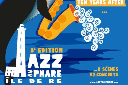 Affiche du festival Jazz au Phare, à l'île de Ré (Charente-Maritime).