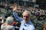 DURHAM, ENGLAND - JULY 08: Jeremy Corbyn, leader of the Labour Party stands on the balcony of the County Hotel as colliery bands pass below during the 133rd Durham Miners Gala on July 8, 2017 in Durham, England. Over two decades after the last pit closed in the Durham coalfield the Miners Gala or Big Meeting as it is known locally remains as popular as ever with over 200,000 people expected to attend this year. The gala forms part of the culture and heritage of the area and represents the communal values of the North East of England. The gala sees traditional colliery brass bands march through the city ahead of their respective pit banners and pausing to play outside the County Hotel building where union leaders, invited guests and dignitaries gather before then continuing to the racecourse area for a day of entertainment and speeches. Beginning in 1871 the gala is the biggest trade union event in Europe.