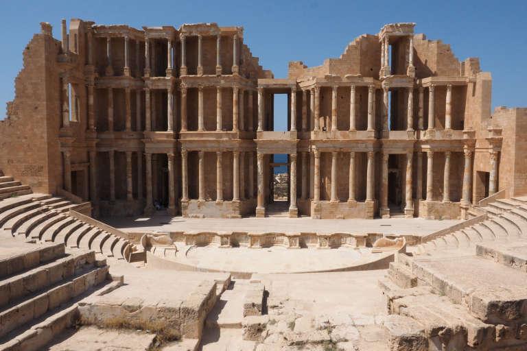Amphithéâtre romain du IIe siècle, sur le site archéologique de la ville de Sabratha, le 20 juillet.