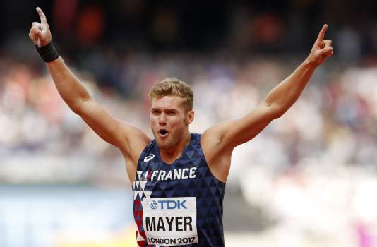 Kevin Mayer après son premier essai au lancer du poids, mesuré à 15,72 mètres.