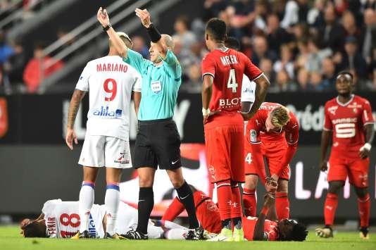 Lors de la rencontre de Ligue 1 entre Rennes et Lyon, le 11 août, au Roazhon Park.