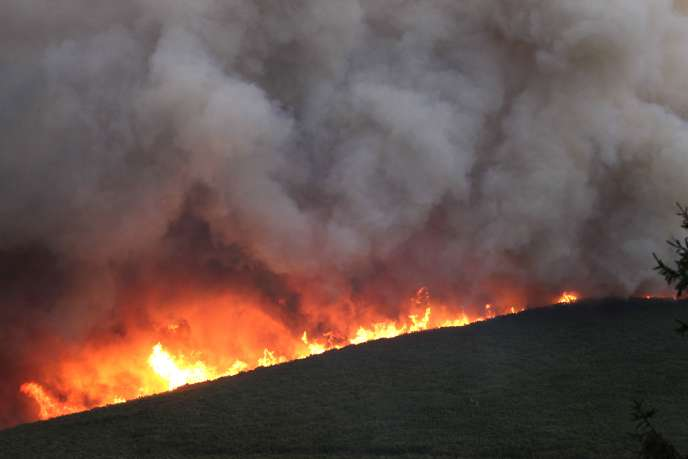 A fire burns in Pietracorbara on August 11, 2017 on the French Mediteeranean island of Corsica. A fire started in Nonza, near Bastia (Haute-Corse), burnt more than 350 hectares on August 11, helped by strong winds. / AFP / Pascal POCHARD-CASABIANCA