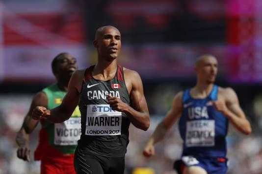 Le Canadien Damian Warner, lors du 100 m, vendredi 11 août à Londres.