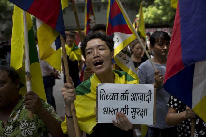 Une manifestation de soutien envers l'Inde face au conflit avec la Chine concernant le plateau montagneux du Doklam, qui assure la jonction entre les deux pays.