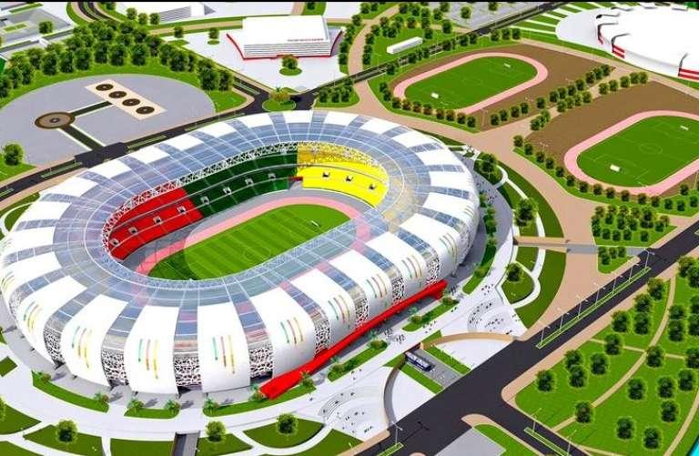 La maquette du stade Paul Biya d'Olembe, dont la construction est confiée au groupe italien Piccini pour 248,5 millions d'euros et dont les travaux ne semblent pas en avance.