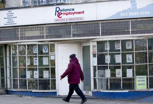 Agence pour l'emploi, à Londres, le 20 février 2013.