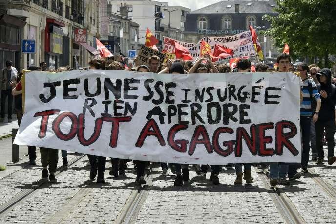 Lors d'une manifestation contre le projet de loi travail, en mai 2016 àBordeaux.